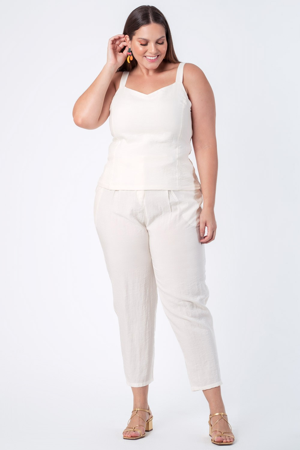 TOP LISO MÔNACO PLUS SIZE OFF WHITE