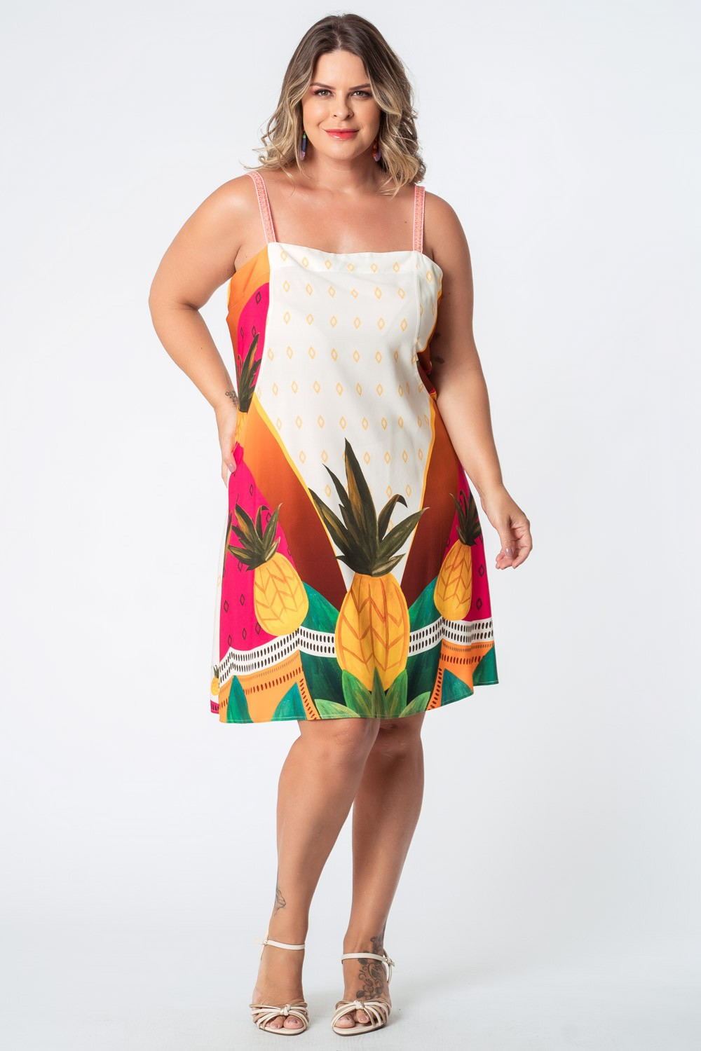 VESTIDO ESTAMPADO ABACACHIC PLUS SIZE OFF WHITE