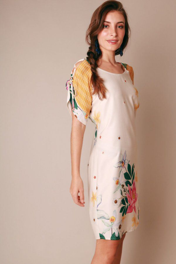 VESTIDO ESTAMPADO ENERGIA OFF WHITE