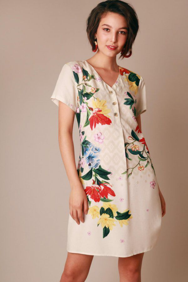 VESTIDO ESTAMPADO FLORAL DEGRADÊ OFF WHITE