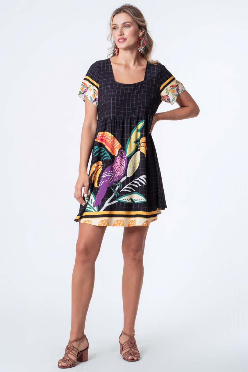 VESTIDO ESTAMPADO GRID TROPICAL PRETO