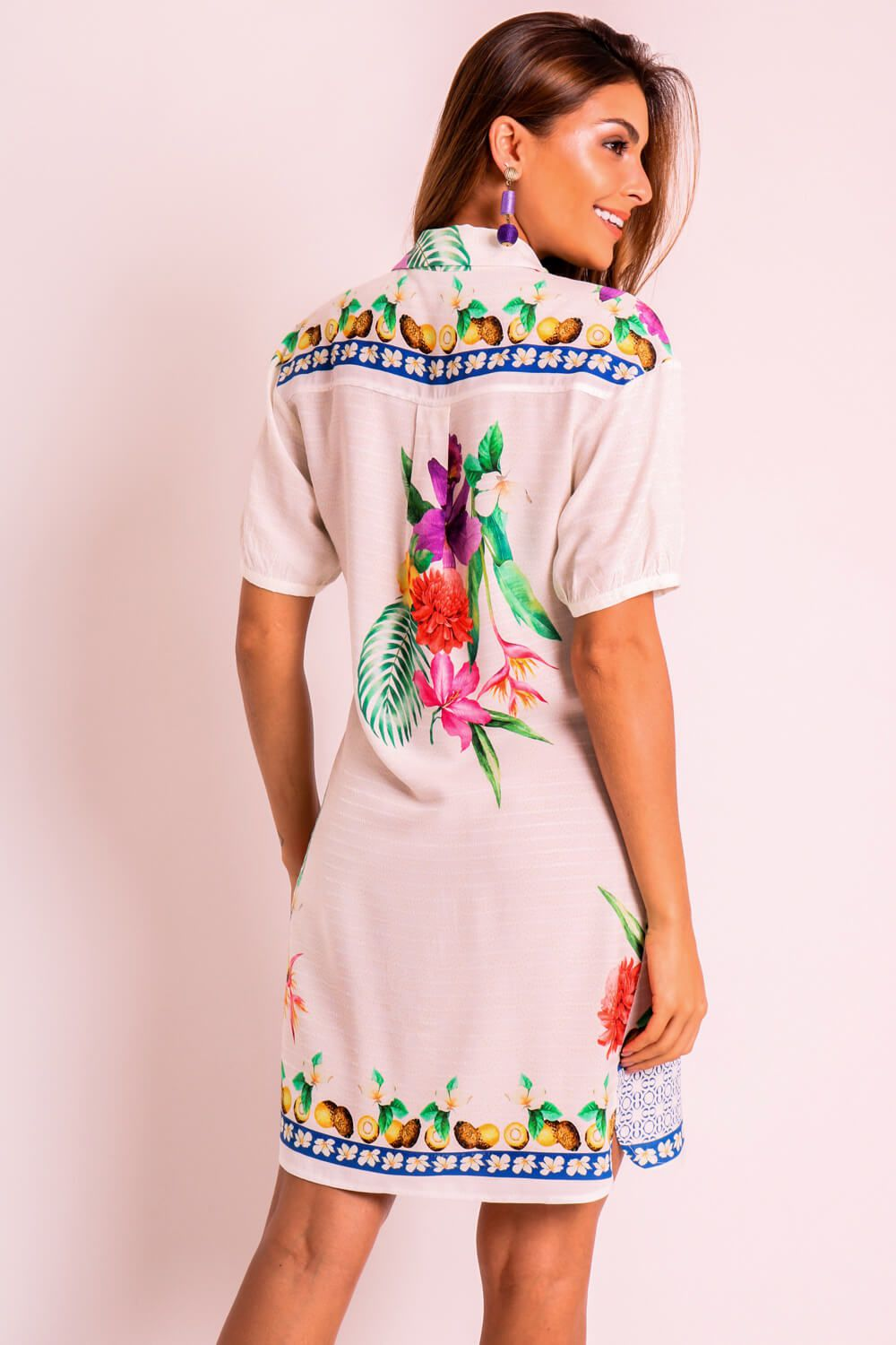 VESTIDO ESTAMPADO TROPICALMA OFF WHITE