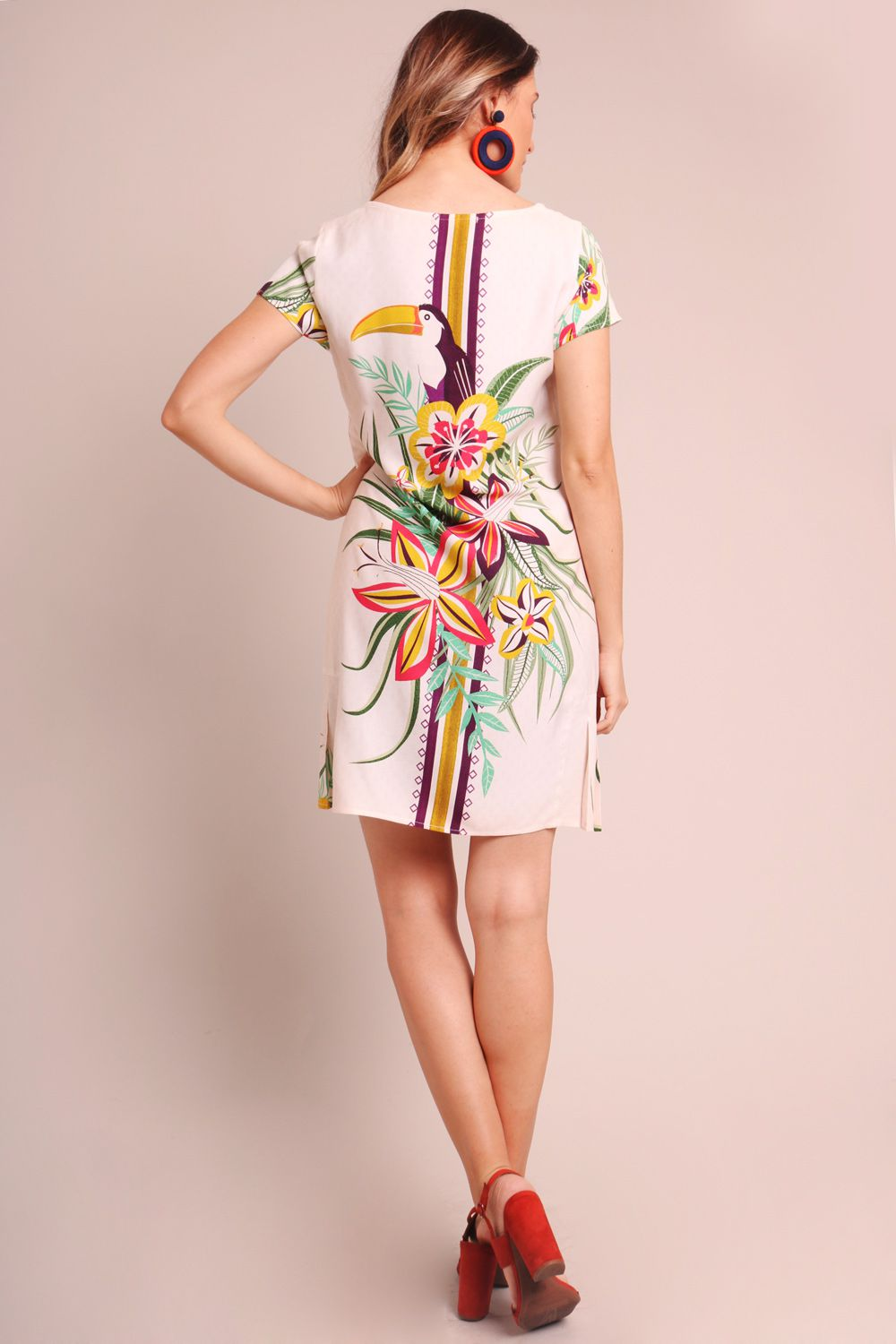 VESTIDO ESTAMPADO TUCANEAR OFF WHITE