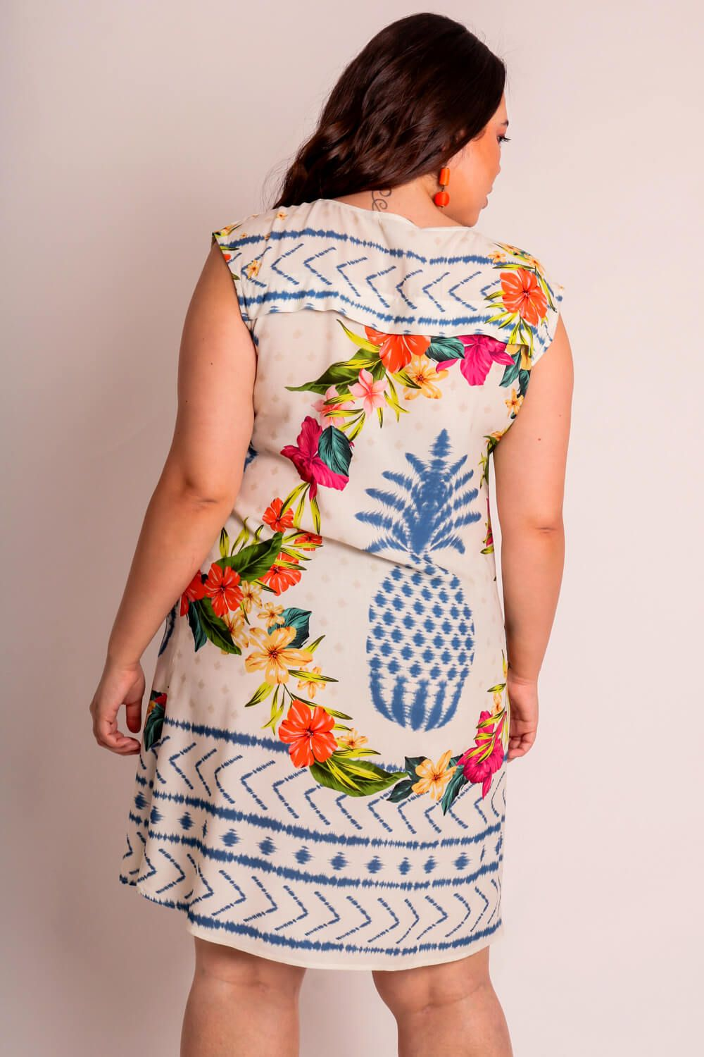 VESTIDO PLUS SIZE ESTAMPADO ABACAXI TIE DYE OFF WHITE