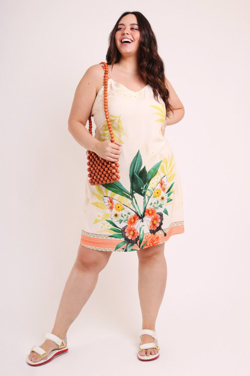 VESTIDO PLUS SIZE ESTAMPADO BORBOCHITA OFF WHITE