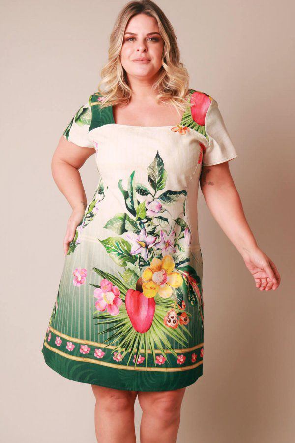 VESTIDO PLUS SIZE ESTAMPADO CAJU OFF WHITE