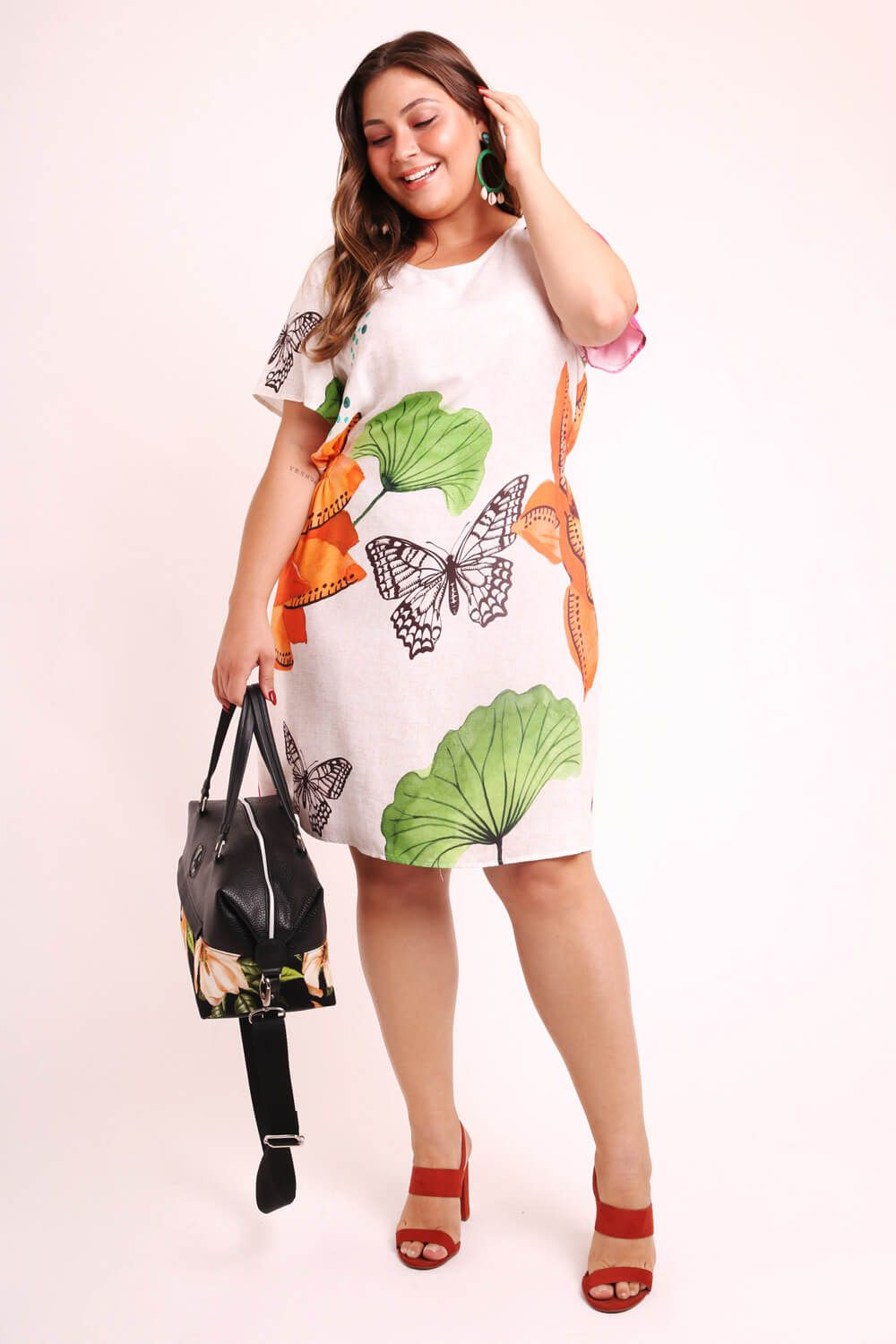 VESTIDO PLUS SIZE ESTAMPADO DOÇURA OFF WHITE