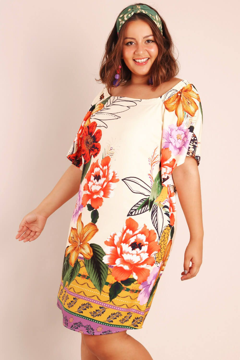 VESTIDO PLUS SIZE ESTAMPADO FESTA TROPICAL OFF WHITE
