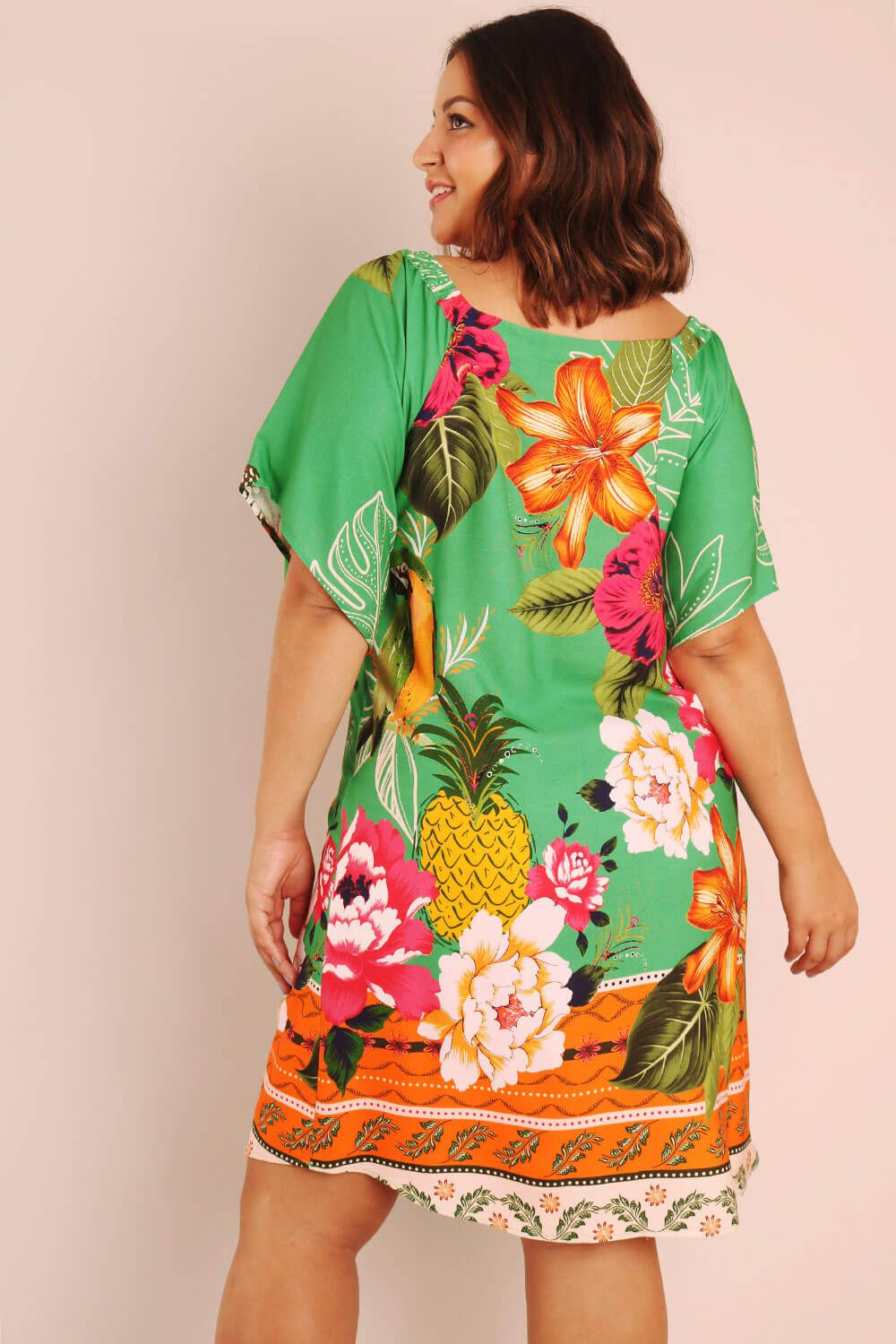 VESTIDO PLUS SIZE ESTAMPADO FESTA TROPICAL VERDE
