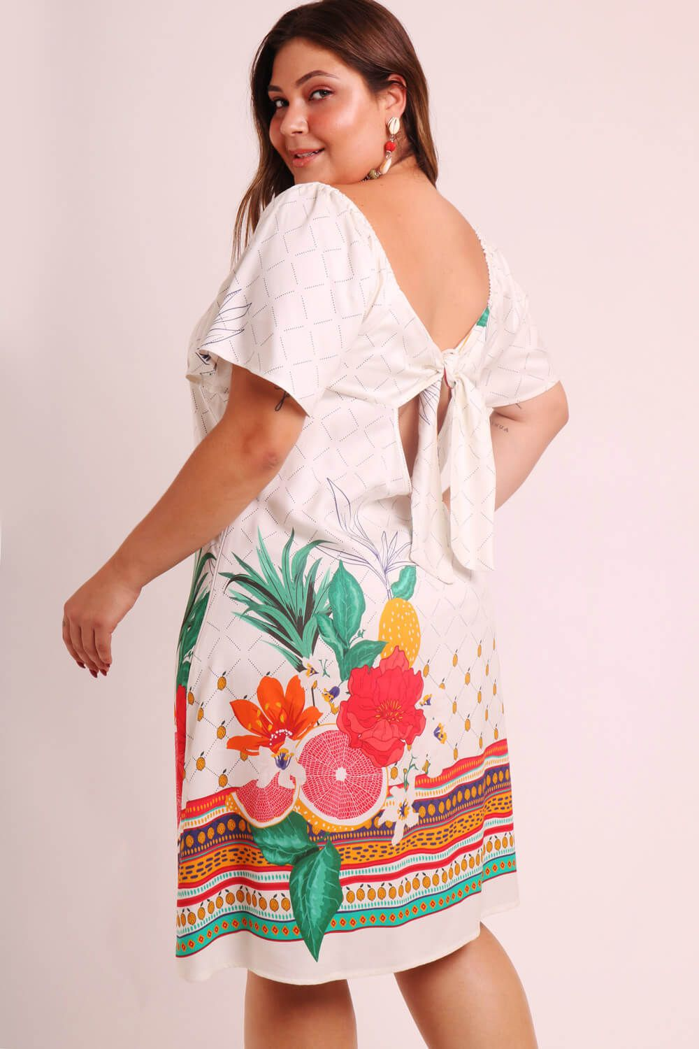VESTIDO PLUS SIZE ESTAMPADO QUITANDA OFF WHITE