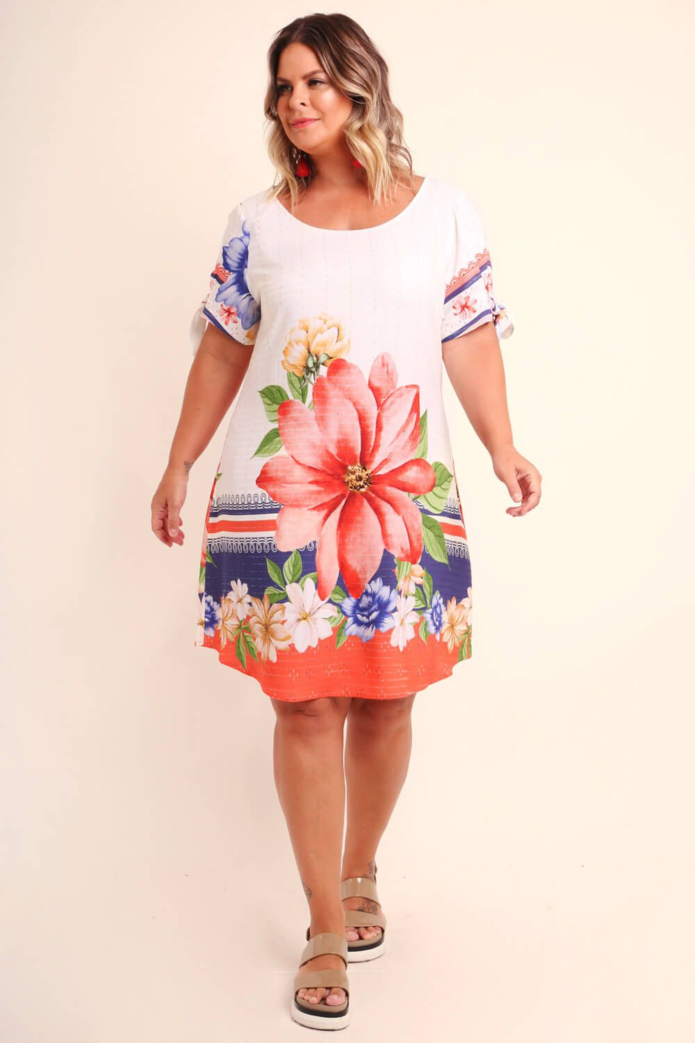 VESTIDO PLUS SIZE ESTAMPADO SERENA OFF WHITE