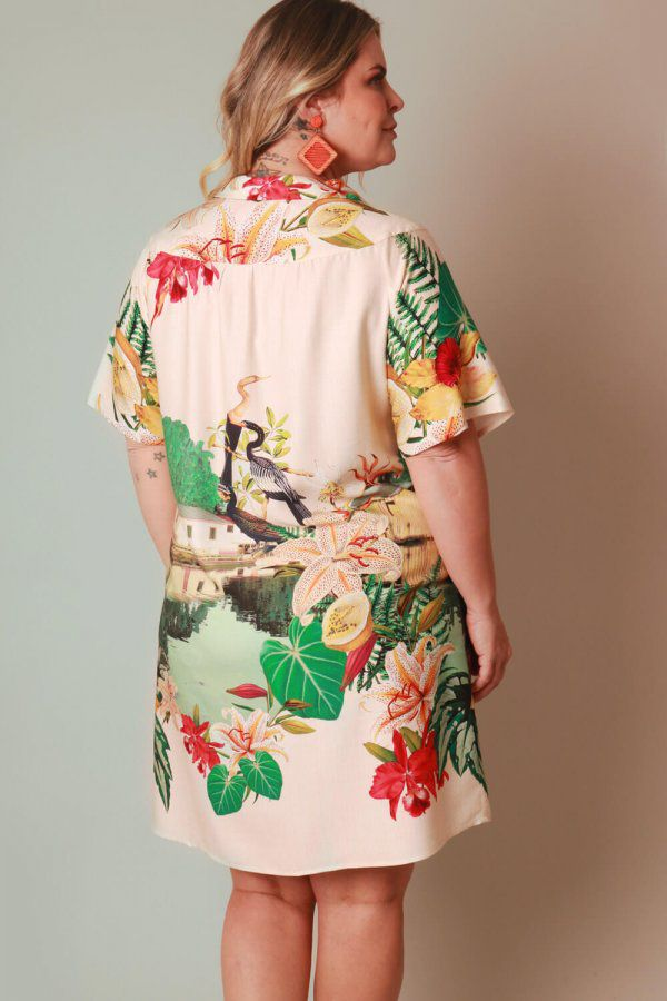 VESTIDO PLUS SIZE ESTAMPADO VILAREJO OFF WHITE