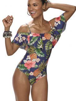 Maiô de Praia Body Babado Tropical DeMillus 98138