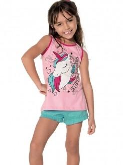 Pijama Curto Infantil Shortdoll Menina Unicórnio DeMillus 220147