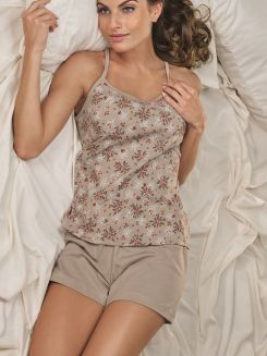 Pijama Curto Short Doll DeMillus Canela 20119