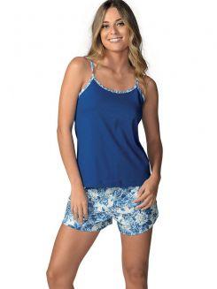 Pijama Curto Shortdoll DeMillus Blue 220645