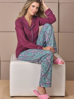 Pijama Longo Botões DeMillus Bali 85015