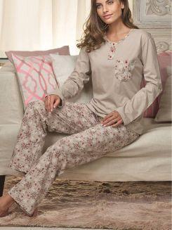 Pijama Longo DeMillus Canela 85119