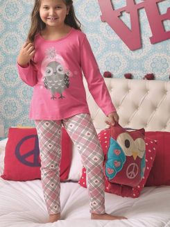 Pijama Longo Infantil Menina Corujinha DeMillus 85121