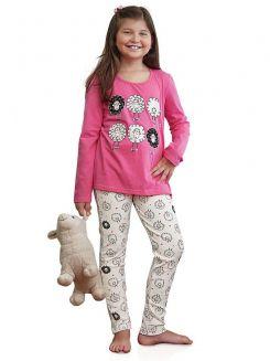 Pijama Longo Infantil Menina Ovelhinha DeMillus 85125