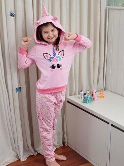 Pijama Longo Infantil Menina Unicórnio DeMillus 85006
