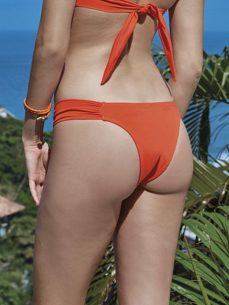 Calça Biquiní de Praia com Drapeado Coral DeMillus 12035