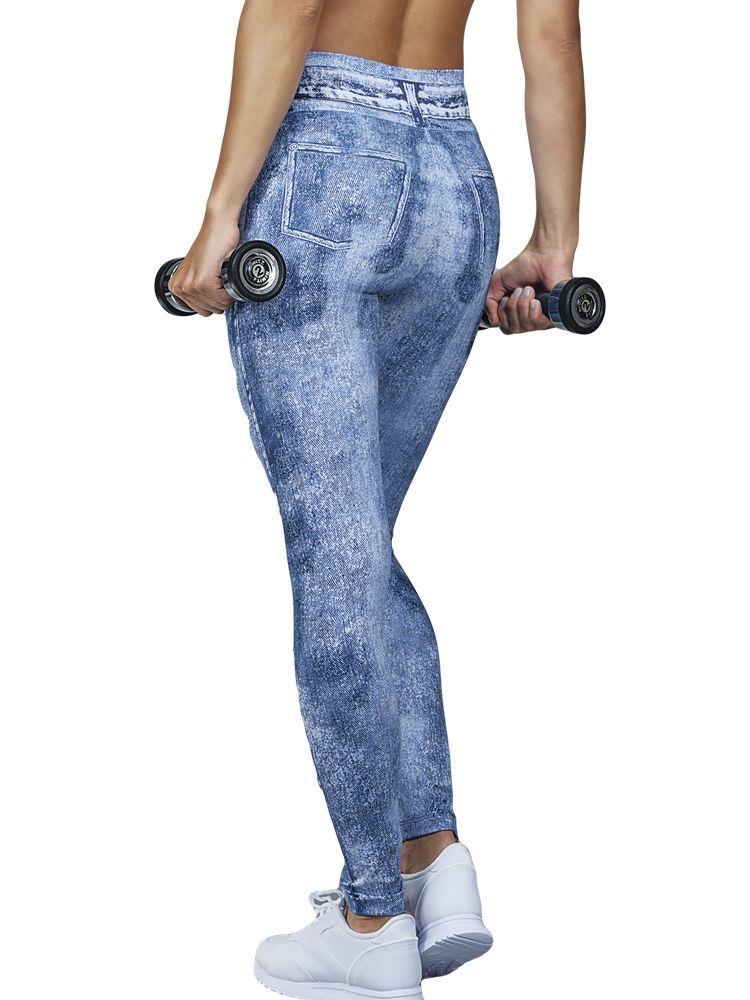 Calça Fitness Comprida Estampa Jeans DeMillus 00122