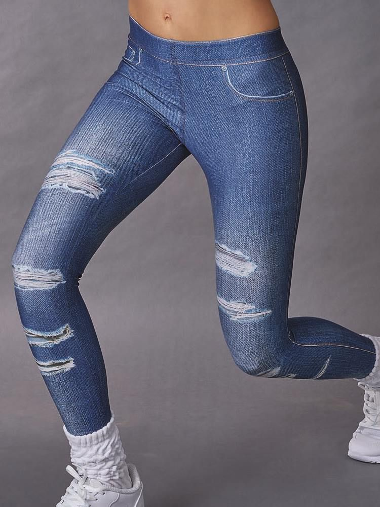 Calça Fitness Legging Comprida Estampa Rasgado DeMillus 00128