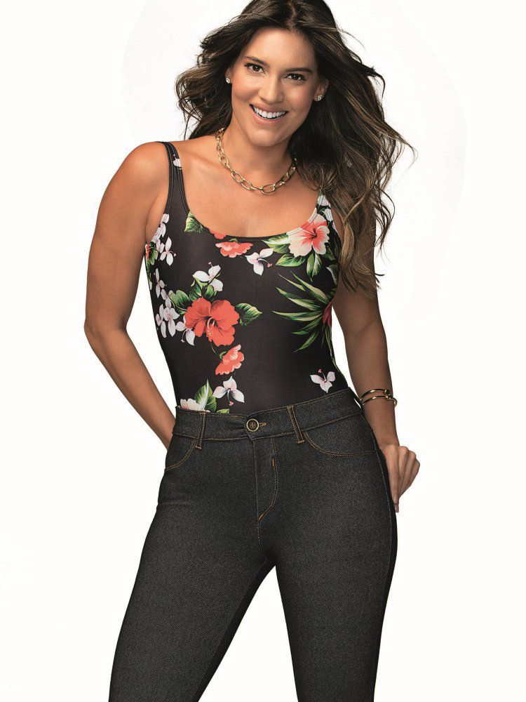 Maiô Body Básico Floral DeMillus 98141