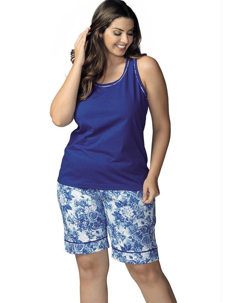 Pijama Curto Bermudoll DeMillus Blue 220145