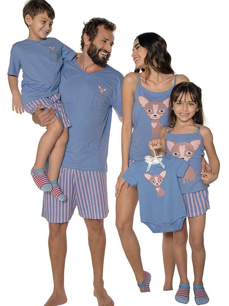 Pijama Curto Infantil Shortdoll Menina Dog DeMillus 220305