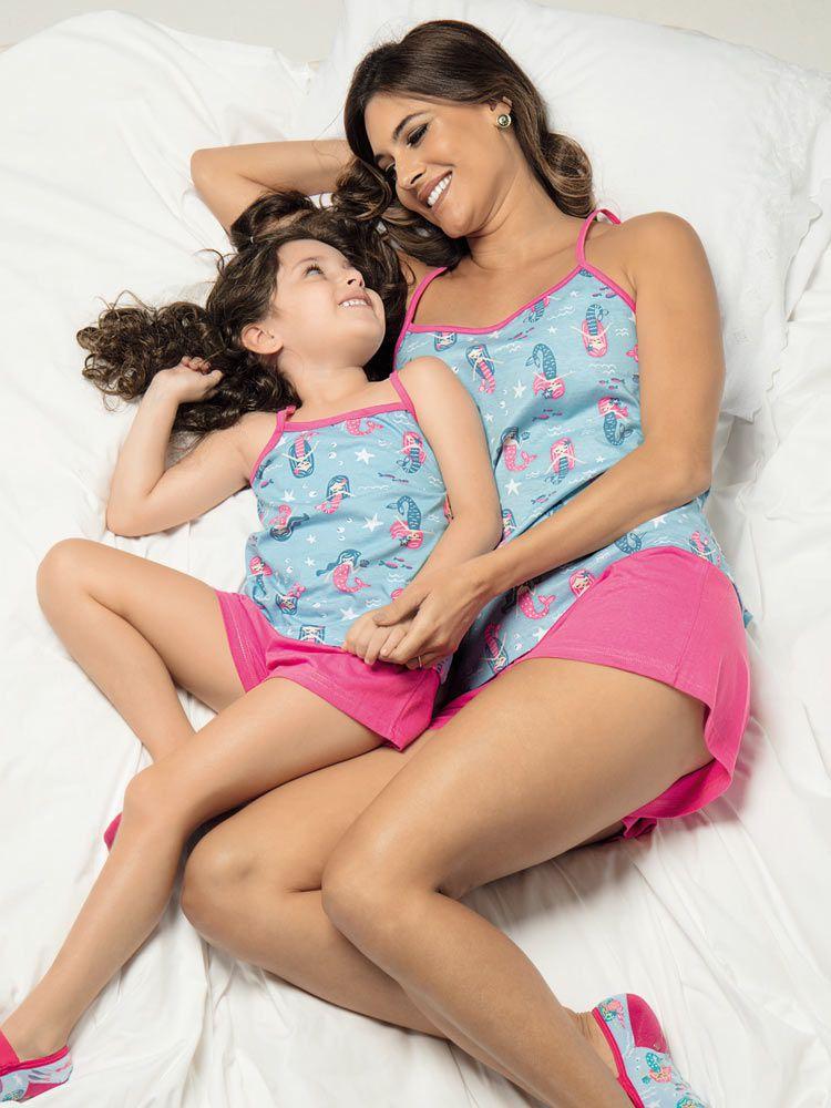 Pijama Curto Infantil Shortdoll Menina Sereias DeMillus 220232