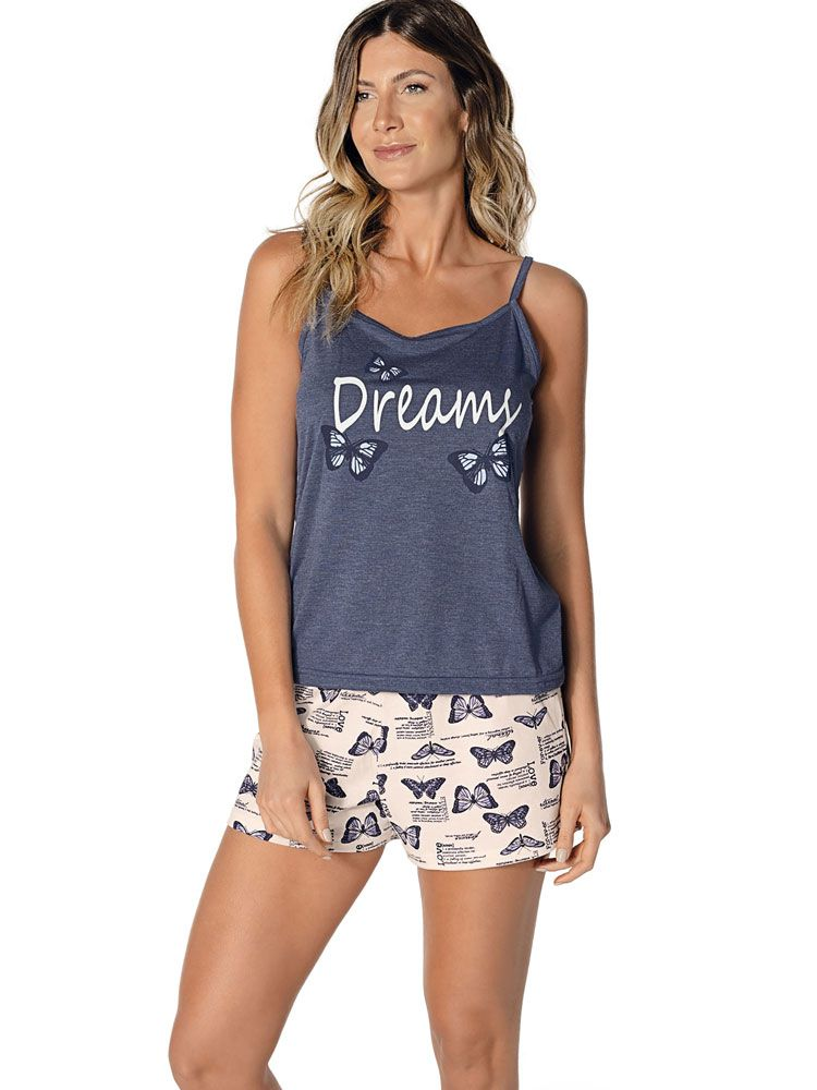 Pijama Curto Shortdoll Borboleta DeMillus 220444