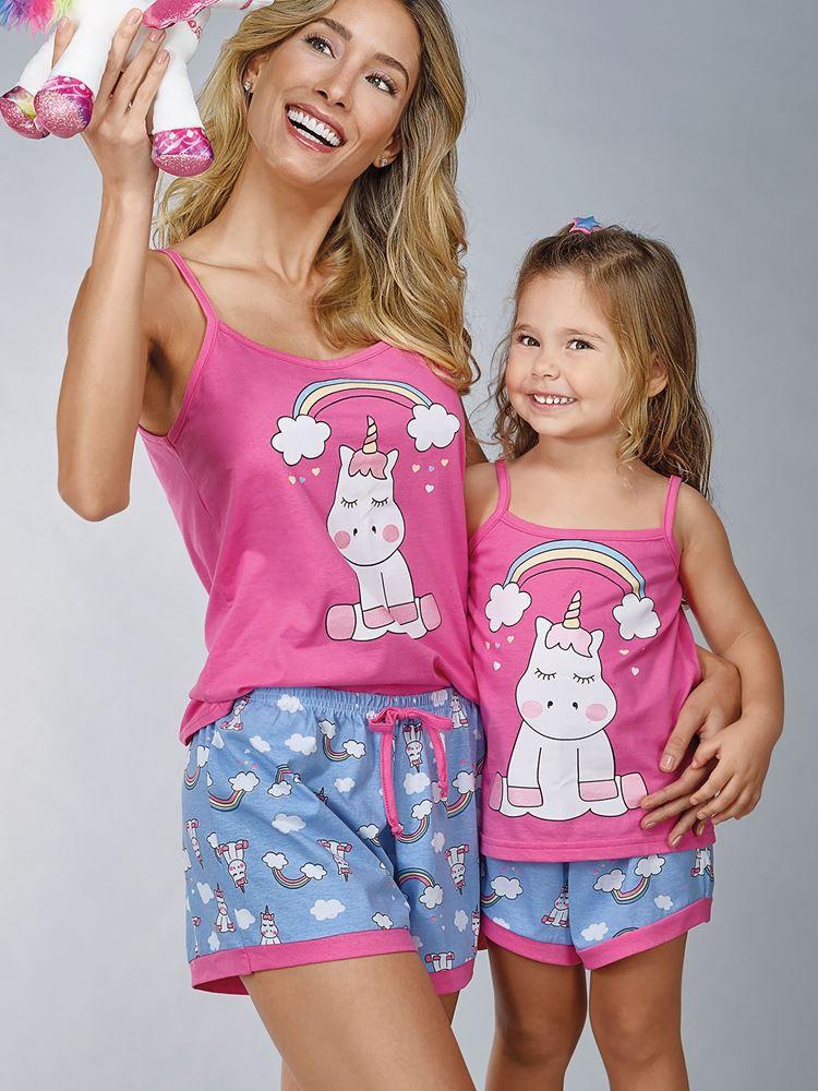 Pijama Curto Shortdoll Menina Arco Íris DeMillus 20014