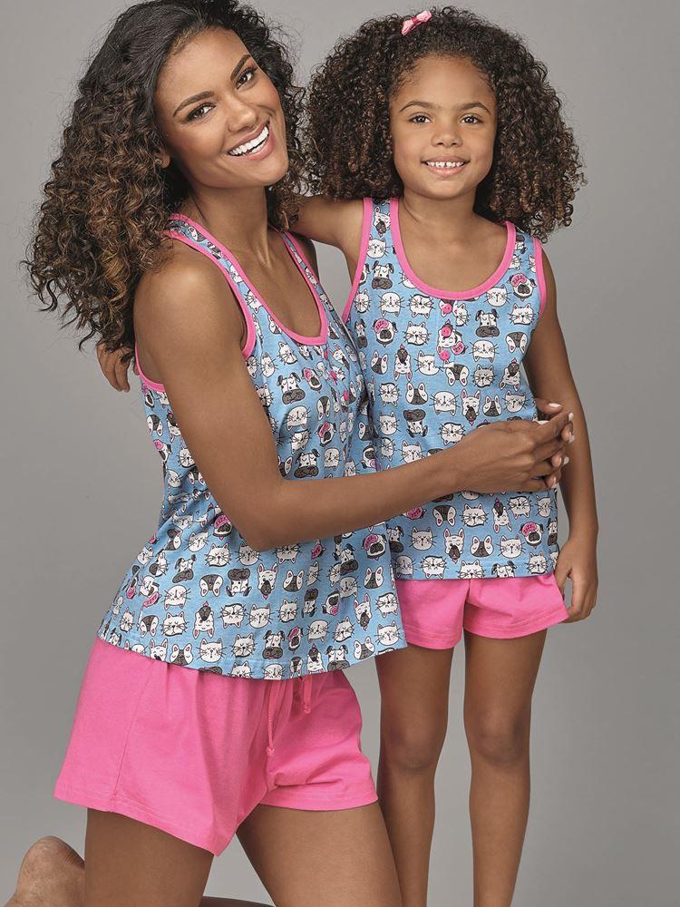 Pijama Curto Shortdoll Menina Cachorrinho 20048