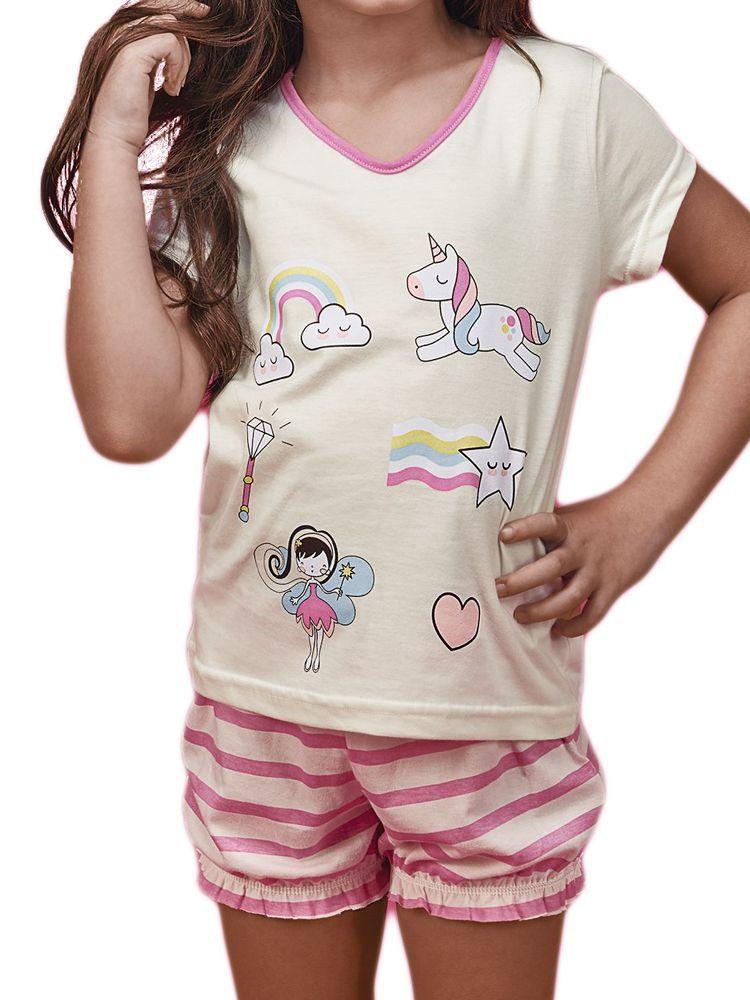 Pijama Curto Shortdoll Unicórnio DeMillus 20120