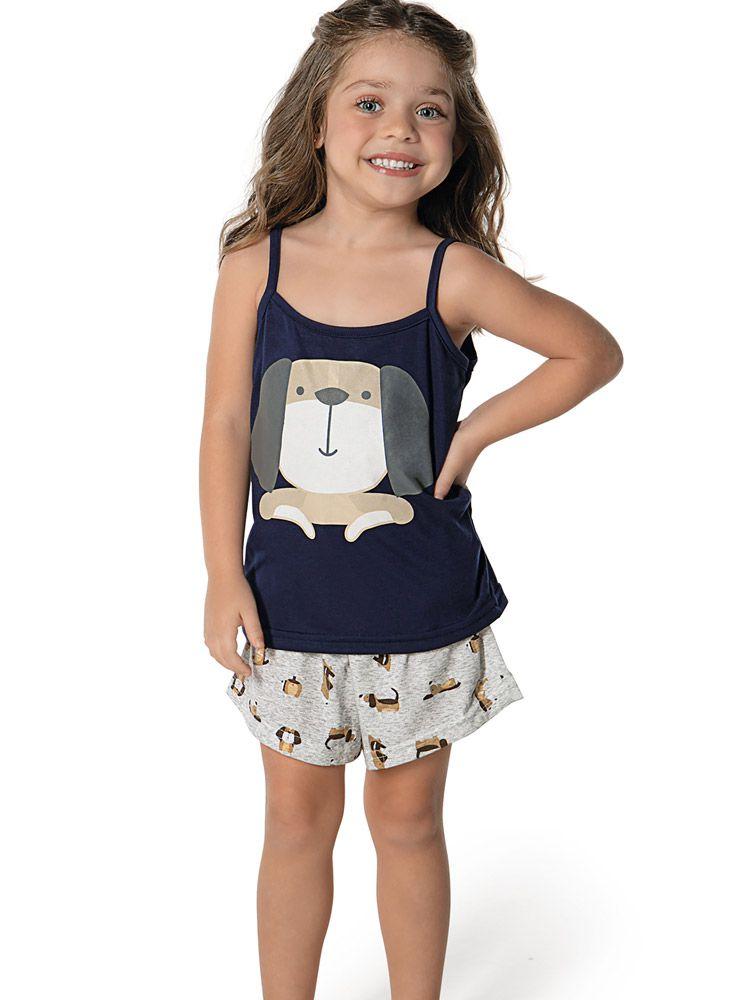 Pijama Infantil Curto Shortdoll Menina Plumbo DeMillus 220706