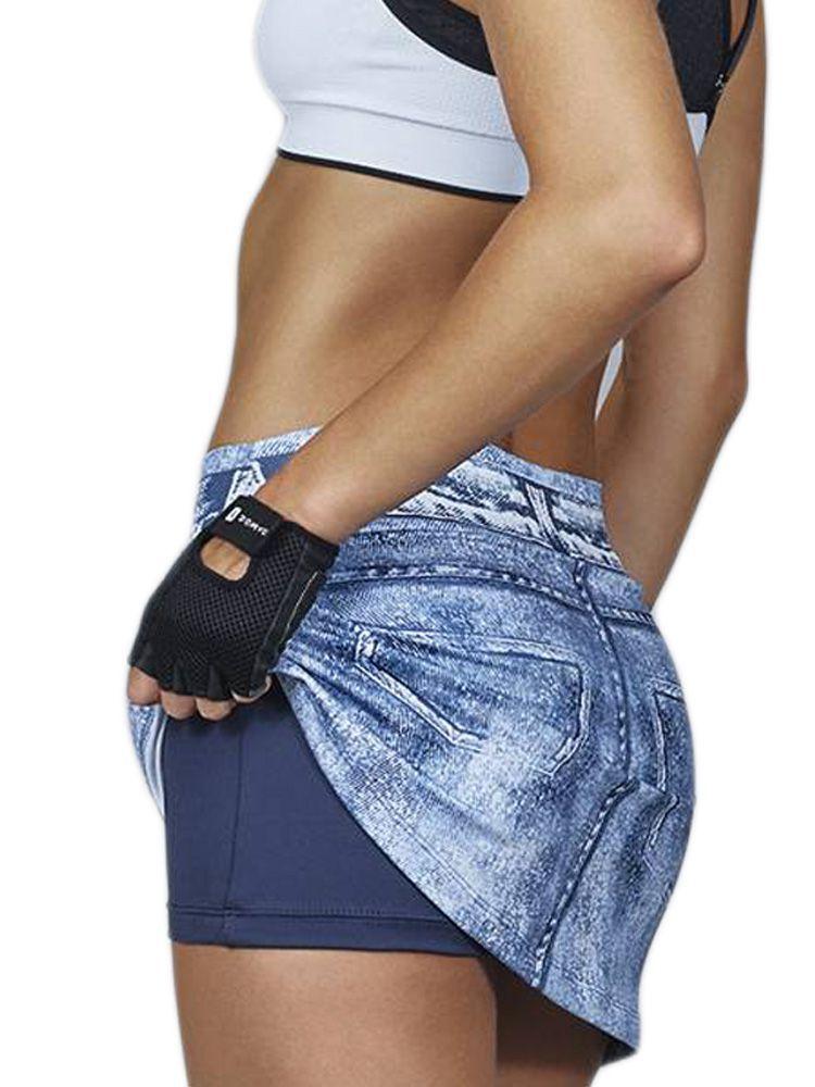 Saia Short Fitness Estampa Jeans DeMillus 94122