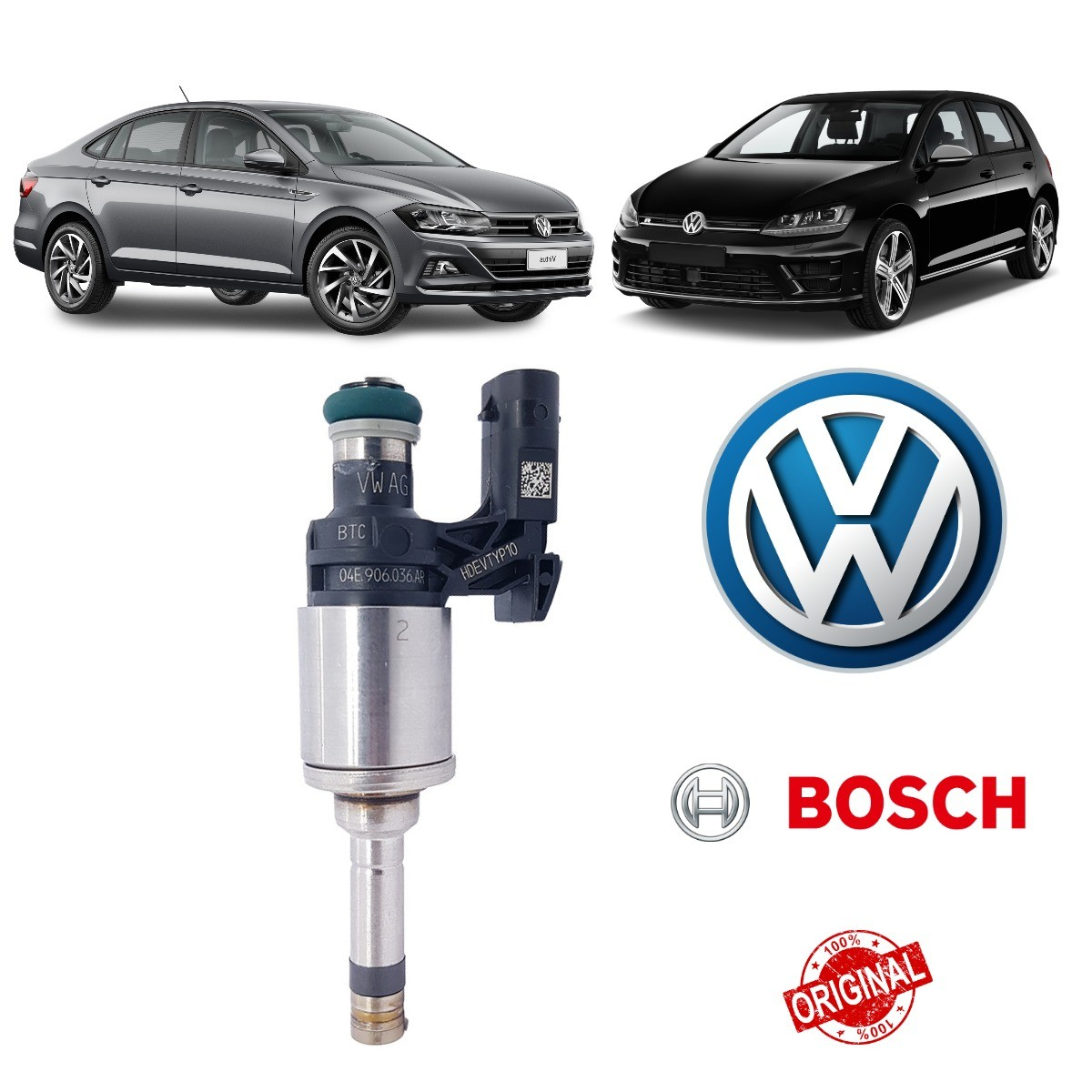 Bico Injetor Polo / Virtus / Golf 04E906036AR Original - Bosch