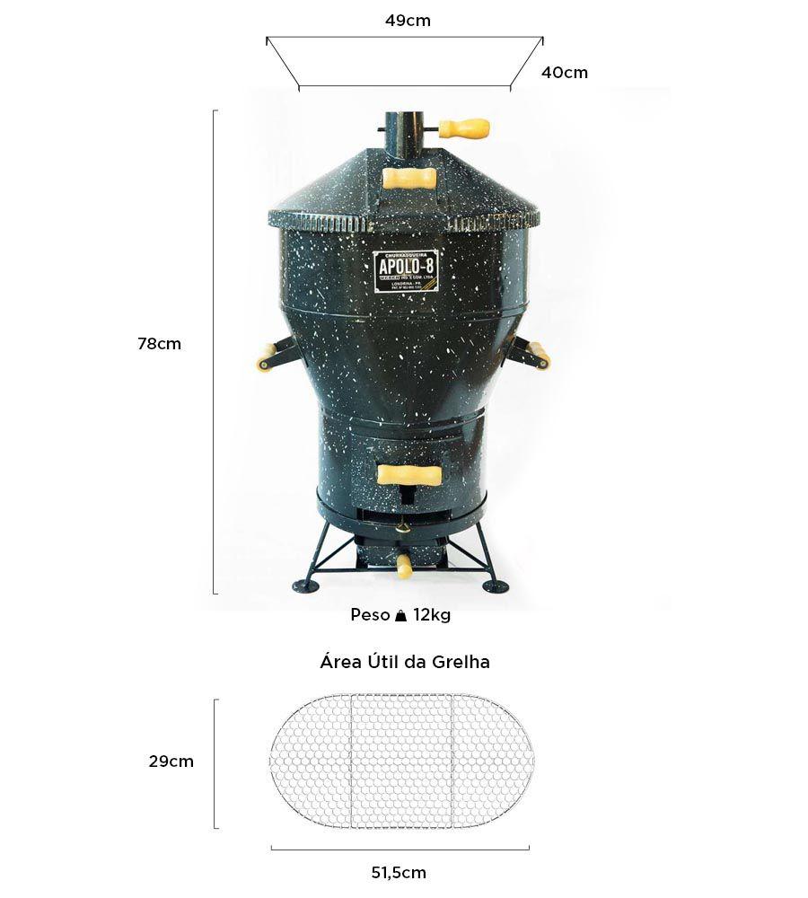 Churrasqueira a Bafo Apolo 8 Esmaltada + Kit Gás