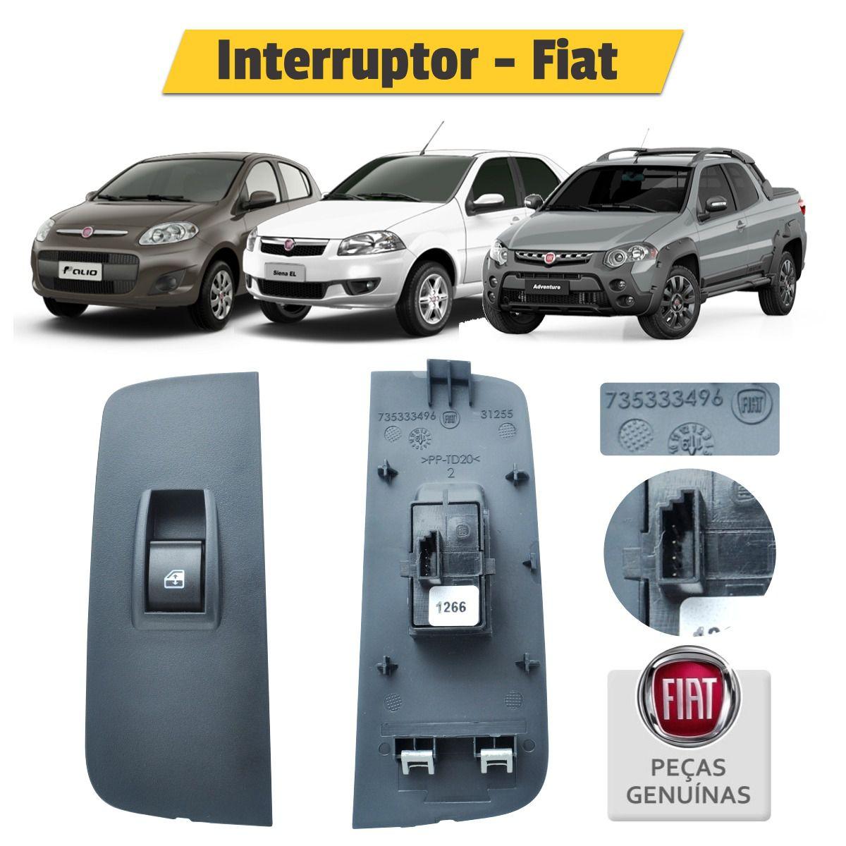 Botão Interruptor Vidro Elétrico Direito 225140102000 - Fiat
