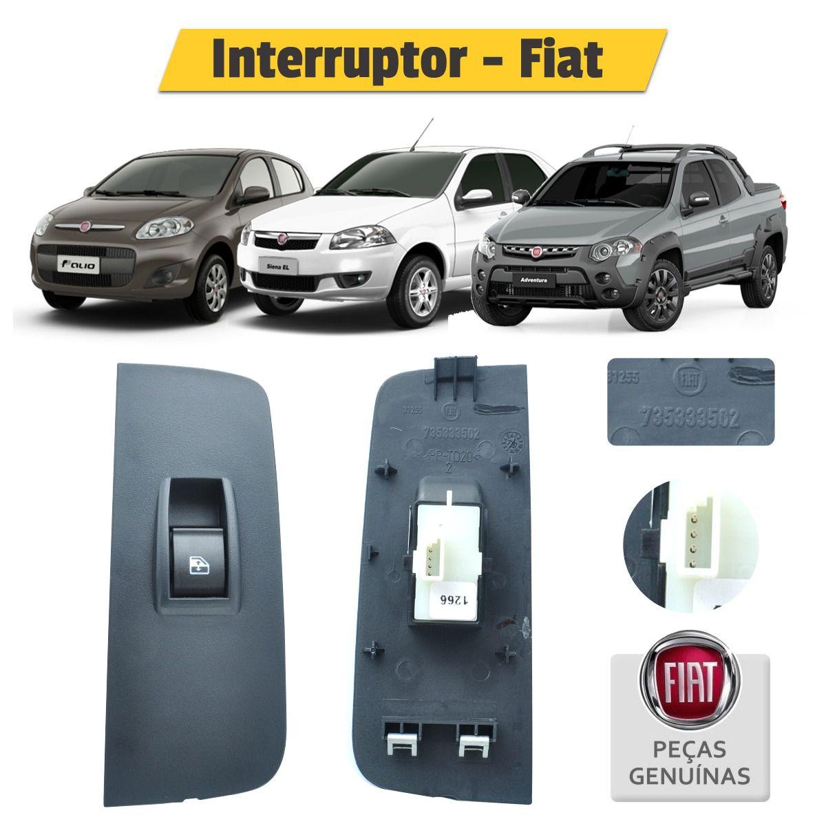 Interruptor Botão Vidro Elétrico Esquerdo Traseiro 225140101800 - Fiat