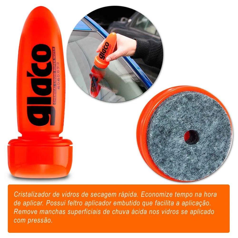 Kit Cera Limpadora White Cleaner 350g + Glaco Repelente de Água 75ml Vidros e Para-Brisa Soft99