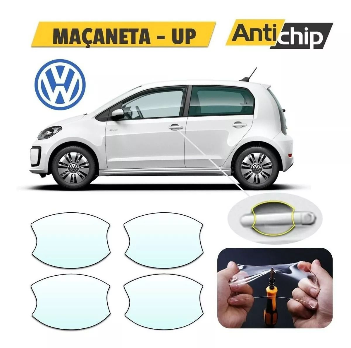 Kit Pelicula Proteção Maçaneta + Soleira + Canto Porta VW UP - Antichip