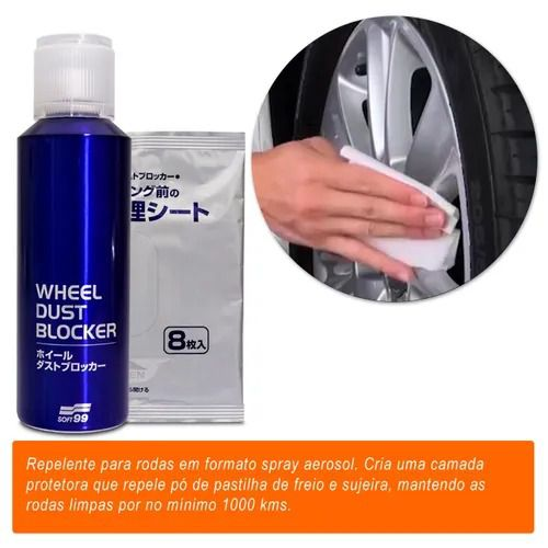 Kit Repelente Água Soft99 Glaco Cristalizador Blave Zero + Wheel Dust Blocker e Toalha Hybrid Cloth
