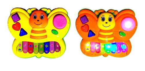 Piano Musical Infantil Bebe Pianinho Musicas Sons Luz Teclado iluminado - Borboleta