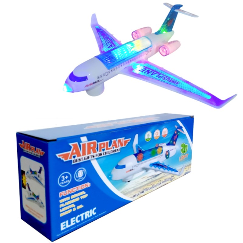 Avião Airbus Grande Musical que Anda Luzes  Sons Bate e Volta Brinquedo Infantil