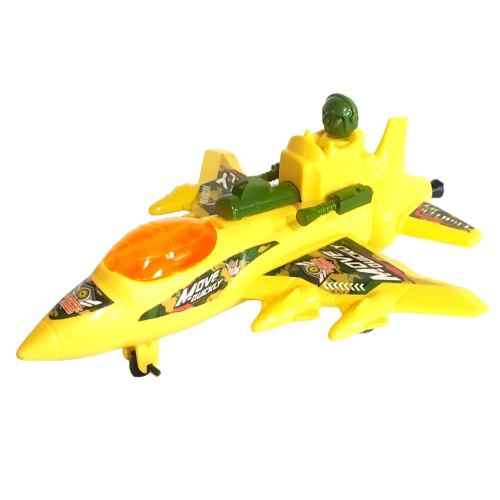 Avião Caça Militar a Corda que anda e Mexe as Arminhas Brinquedo Infantil Amarelo