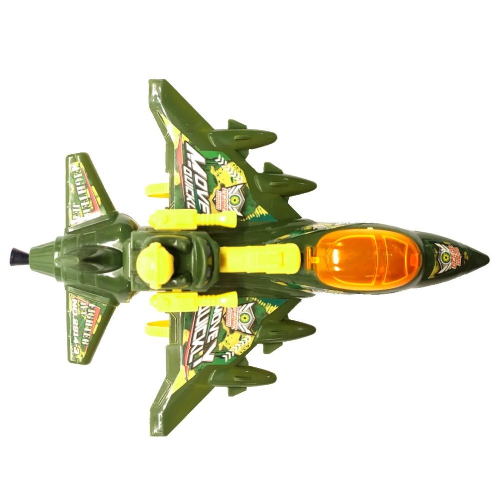 Avião Caça Militar a Corda que anda e Mexe as Arminhas Brinquedo Infantil Verde