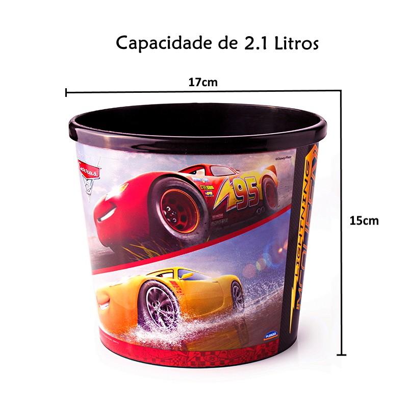 Balde de Pipoca do Carros 3 Relâmpago Macqueen Premium Plasútil 2.1L